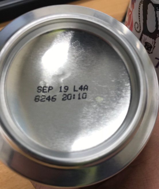 Photo of the base of a can of Tropical Rio